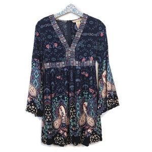 Flying Tomato Boho Blue Floral Dress Size medium